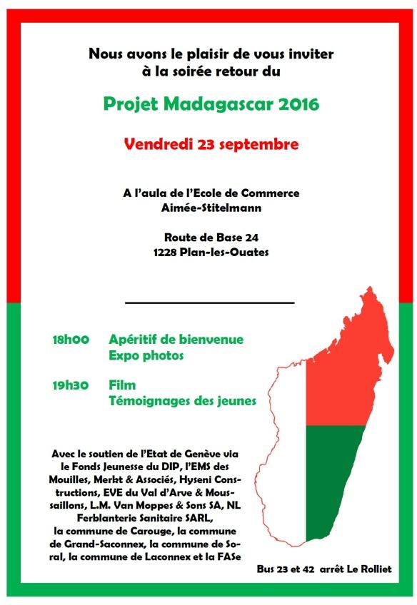 Flyer soirée de restitution projet d'entraide et de solidarité à Madagascar